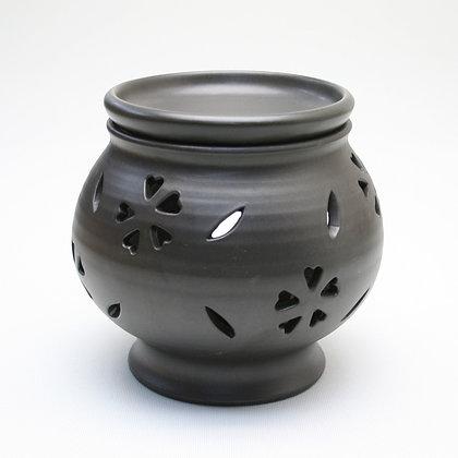 富仙黒桜柄茶香炉