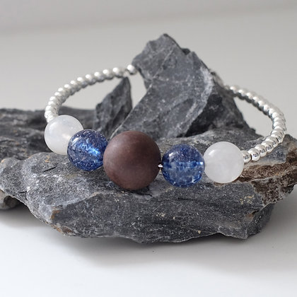 仁青藥珠+月亮石+威尼斯藍玻璃珠