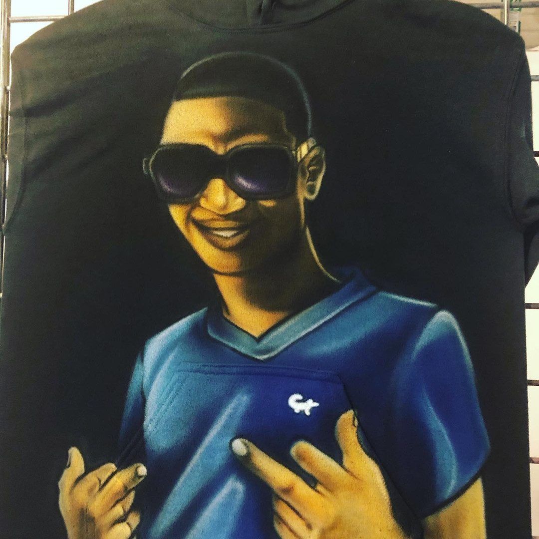 Portrait on hoodie