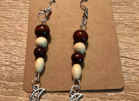 Wooden Moon Hand-Made Earrings