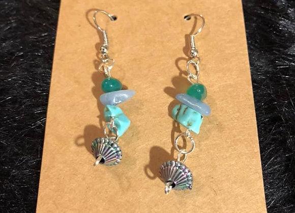 Green Stone  Hand-Made Earrings
