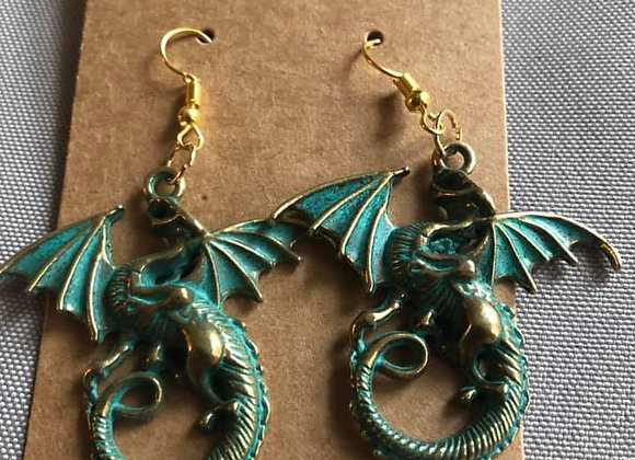 Green Dragon   Hand-Made Earrings