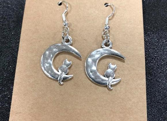 Half-Moon Cat Hand-Made Earrings