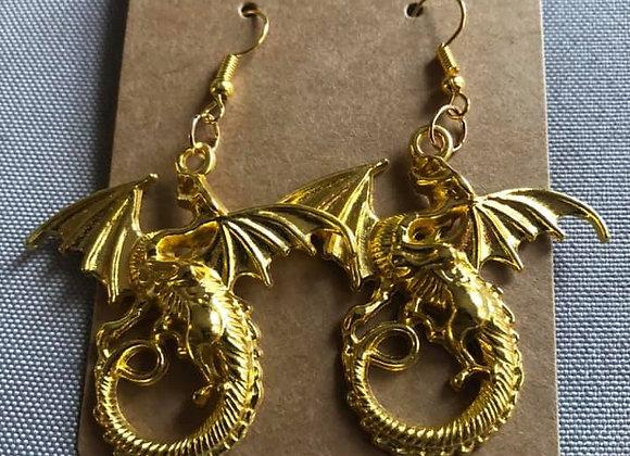 Golden Dragon   Hand-Made Earrings