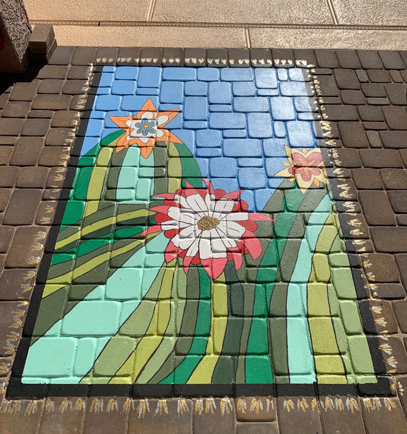 Cactus Mural on Pavers