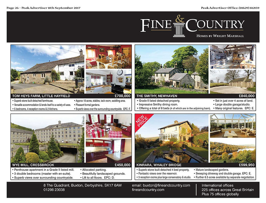 Property in the Peak District, Bakewell, Matlock, Hope Valley, Fine and Country
