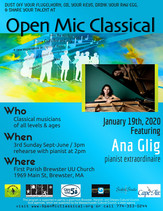 Jan 19th, 2020 / Featuring pianist Ana Glig /  FPB UU 3pm