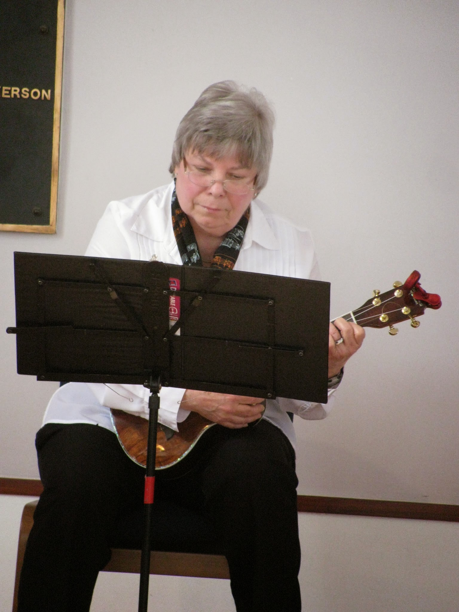 Judy Jollett on ukulele