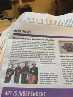 Provincetown Independent - Arts Briefs - Classical Musicians Step Up to the Virtual Mic