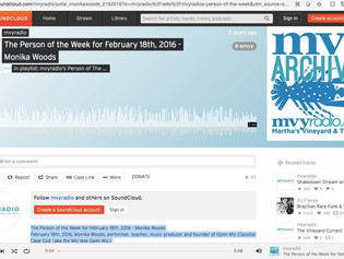 Person of the Week - Monika Woods - MVY Radio