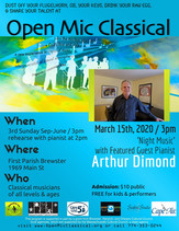 Cancelled Due to Covid-19 / March 15th, 2020 / Featuring Pianist Arthur Dimond /  FPB UU  / 3pm