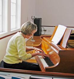 Liz Browne on piano
