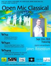 September 15th, 2019 / Guest pianist James Rosenblum / FBP UU 3pm