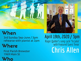 Cancelled Due to Covid-19 / April 19th, 2020 / Featuring Tenor Chris Allen /  FPB UU  / 3pm
