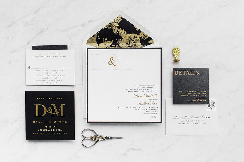 Modern Black Wedding Invitations with Gold Foil | Blind Emboss | Floral Liner | Paper Daisies