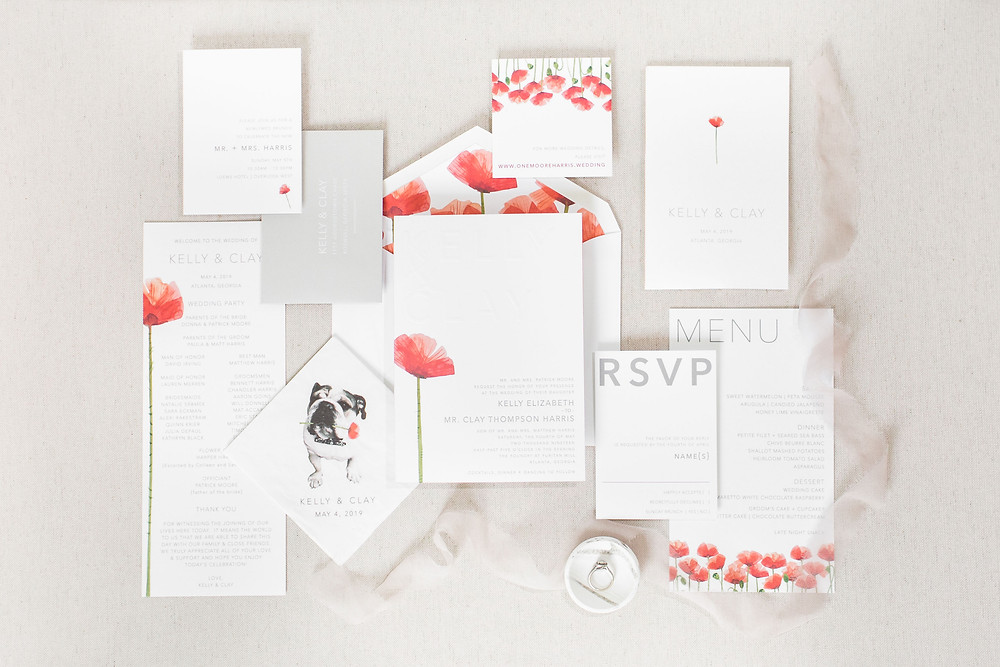 Modern Invitation with Poppy Flowers | Pink Florals | Bold Fonts | Dog Napkins | Paper Daisies