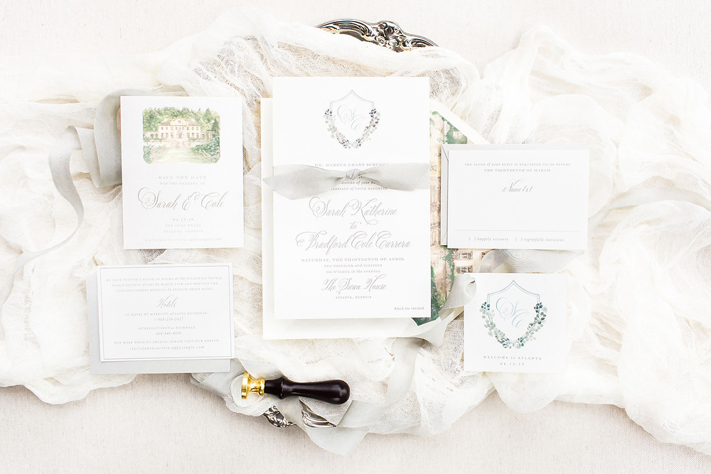 Wedding Invitations with Custom Watercolor Crest and Monogram | Watercolor Venue Painting on Enclosure Card | Greenery | Calligraphy Font | Paper Daisies