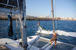 Sailingyacht at anchor