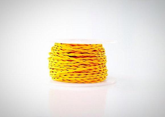 Витой ретро провод в тканевой оплетке желтый