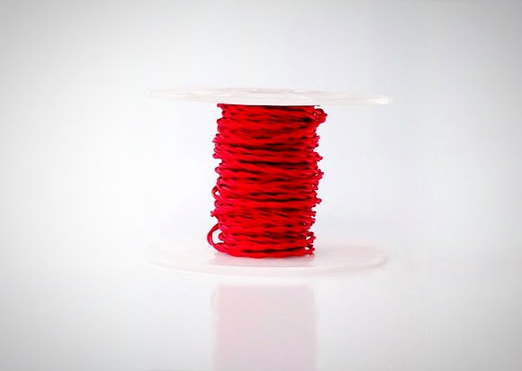 Витой ретро провод в тканевой оплетке красный