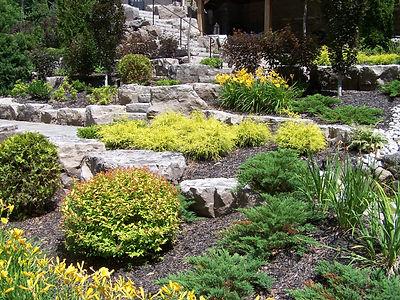 garden, landscape, bushes, stone work, walkways