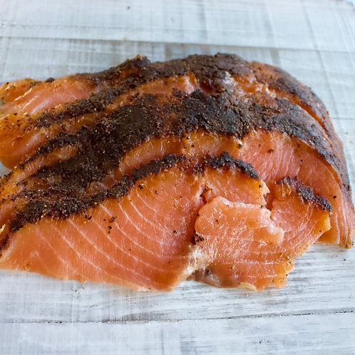 Pastrami Style Smoked Salmon, 1/4#