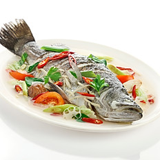 Steamed Seabass with Plum Sauce