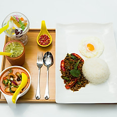 Stir Fried Basil Chicken with Rice & Egg