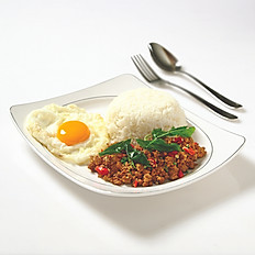 Stir- Fried Basil Leave Chicken/Pork/Beef and Egg with Rice