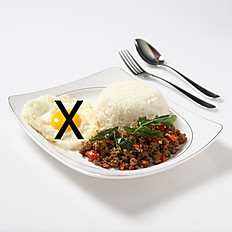Stir-Fried Basil Leaves Chicken/Pork/Beef and Rice (Without Egg)
