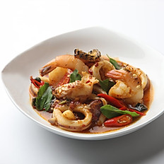 Stir Fried Seafood with Basil Leaves & Chilli