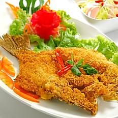 Deep Fried Seabass with Spicy Mango Salad