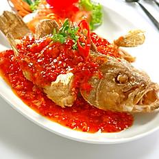 Deep Fried Seabass with Thai Chilli Sauce