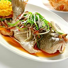 Steamed Seabass with Light Soya Sauce