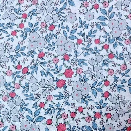 Ranita Ana flores pequeñas gris rosa rojo