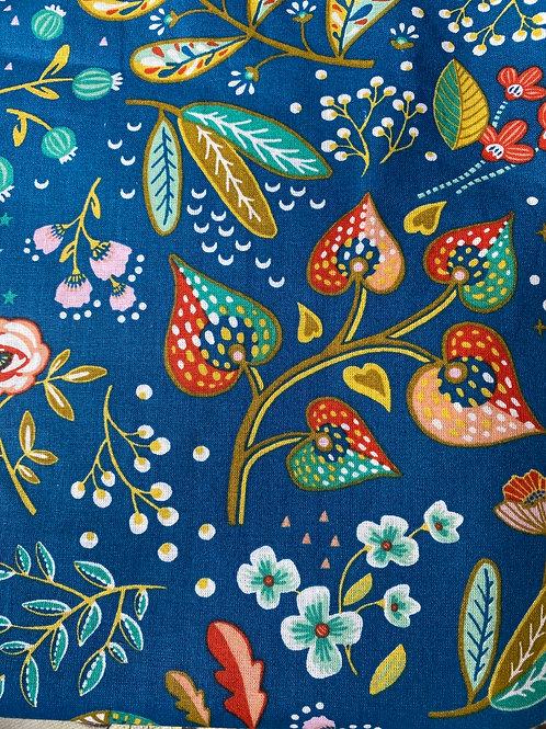 Ranita Santi flores fondo azul petróleo