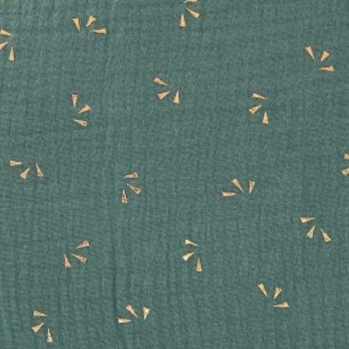 doble gasa verde abanicos dorados