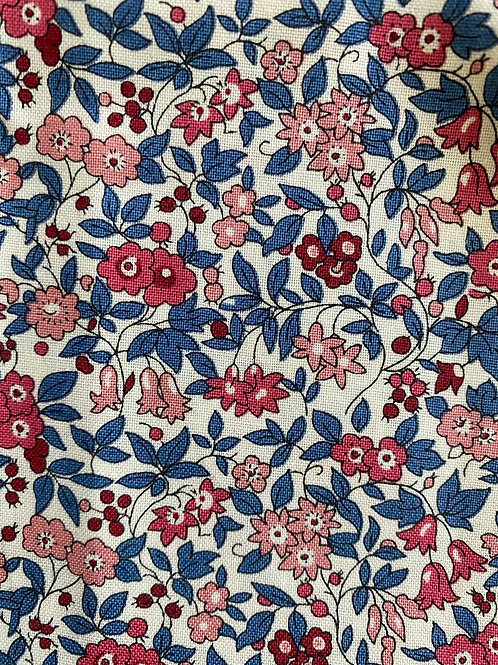 Ranita Santi liberty viyela flores azul y rosa