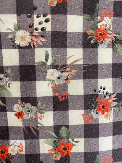 Ranita Ana Vichy negro y flores
