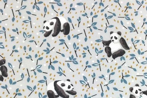 osos pandas y hojas azules