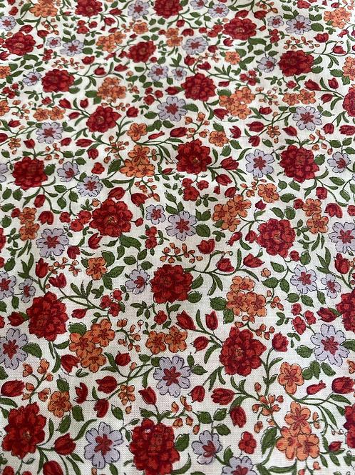 Ranita Santi liberty flores rojas y naranjas