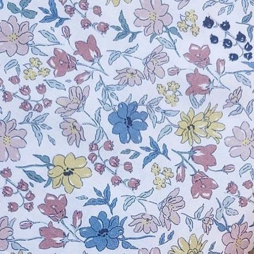 Ranita Santi Flores rosa palo  azul petróleo verde y mostaza