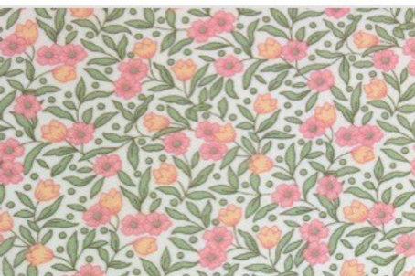 Ranita Santi flores rosas hojas verdes