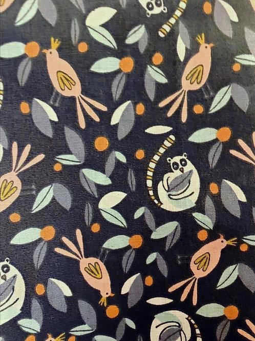 Ranita Diego Osos y pájaros rosas fondo azul