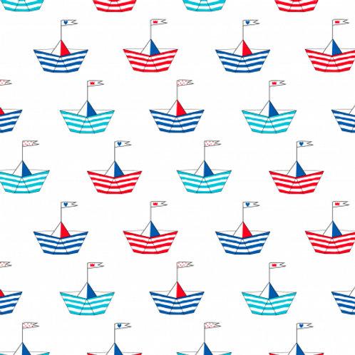 Ranita Santi Barcos de papel azules y rojos