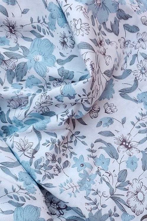 Ranita Santi flores grandes azules y grises