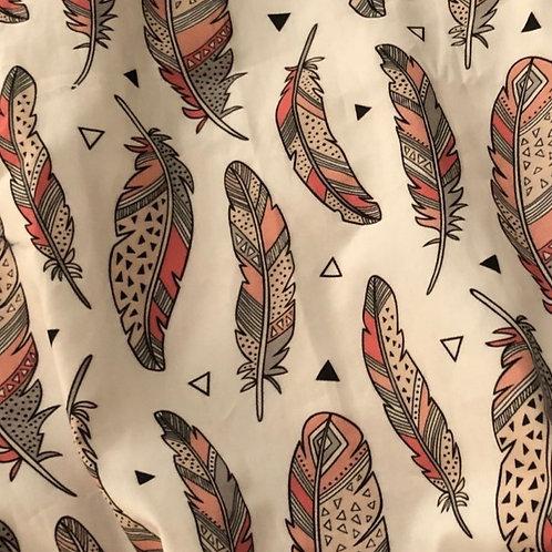 Ranita Diego plumas gris y rosa