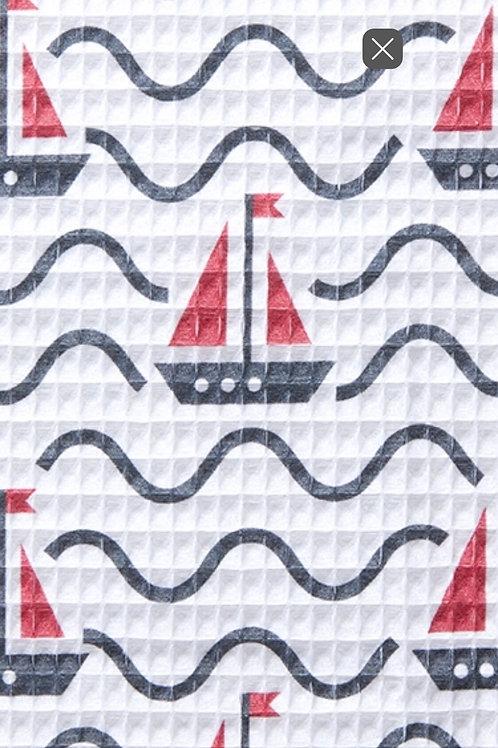 Ranita Santi barcos azul marino y rojo