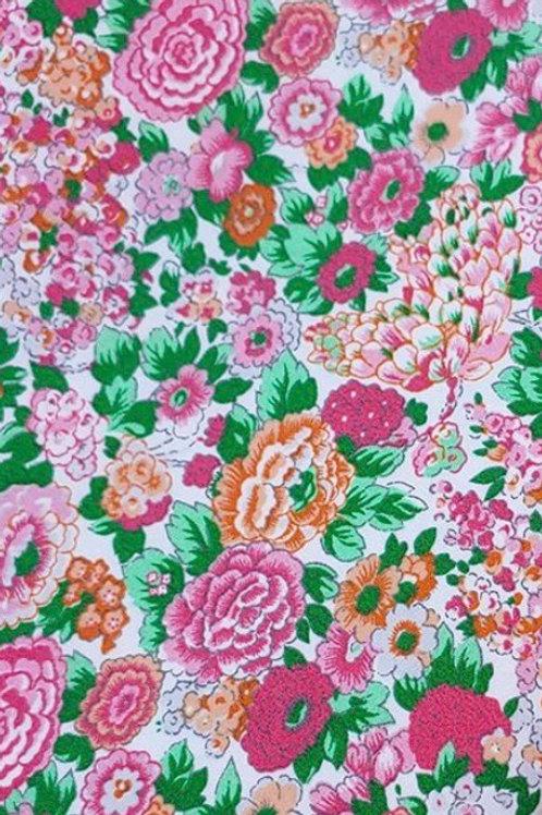 Ranita Ana Flores tonos rosas verde césped