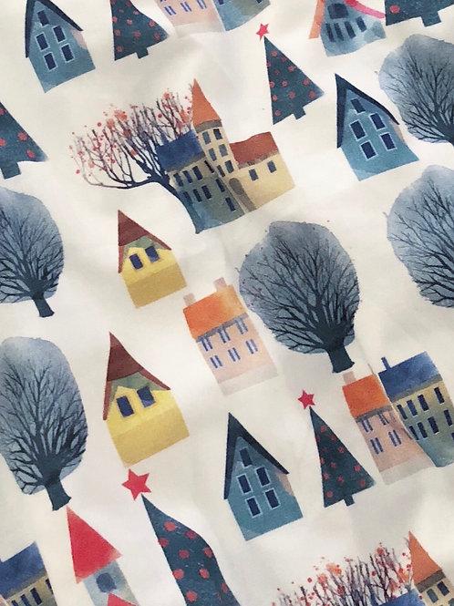 Árboles de navidad y casas